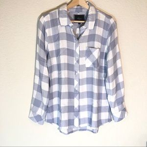Rails Plaid Button Down Shirt Gray White Small